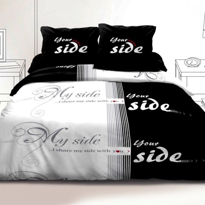 housse de couette 220x240 cm microfibre i share 1 drap. Black Bedroom Furniture Sets. Home Design Ideas