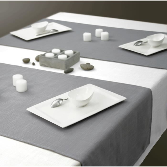 nappe aspect lin carr e 180x180 cm gris achat vente. Black Bedroom Furniture Sets. Home Design Ideas