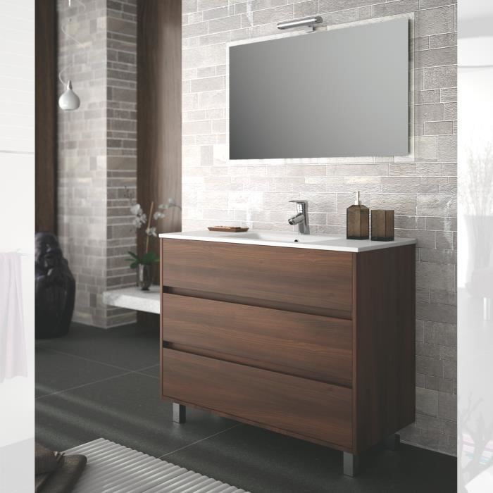 meuble salle de bain 100 cm couleur marron achat vente. Black Bedroom Furniture Sets. Home Design Ideas