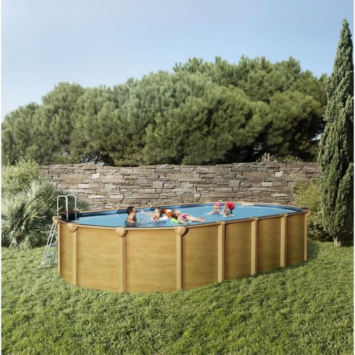 trigano piscine m tal aspect bois 7 55x3 90x1 32m achat vente kit piscine piscine m tal 7. Black Bedroom Furniture Sets. Home Design Ideas