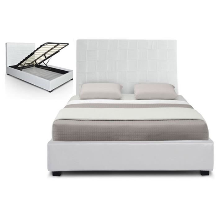 lit coffre pu 180 cm blanc hypnos sommier achat vente. Black Bedroom Furniture Sets. Home Design Ideas