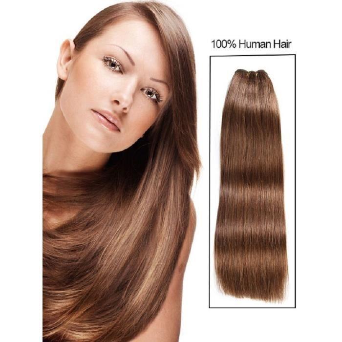 PERRUQUE - POSTICHE Tissage bresilienne naturel droit cheveux humains