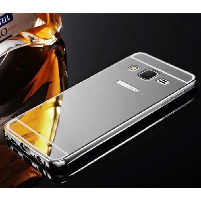 Coque miroir bumper aluminium samsung galaxy j3 2016 gris argent ...
