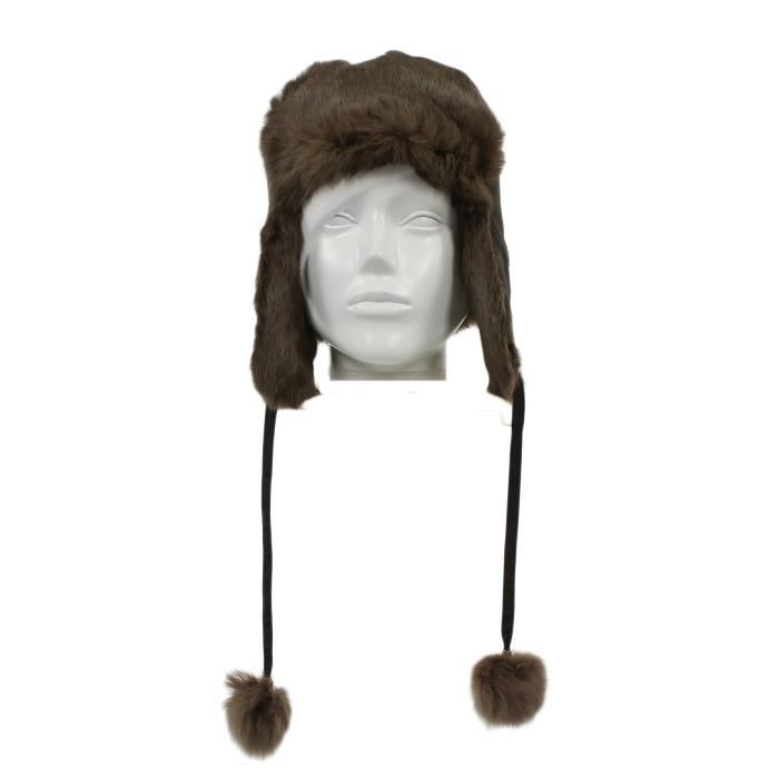 chapka russe femme homme bonnet fourrure 100 l marron marron fonc achat vente bonnet. Black Bedroom Furniture Sets. Home Design Ideas