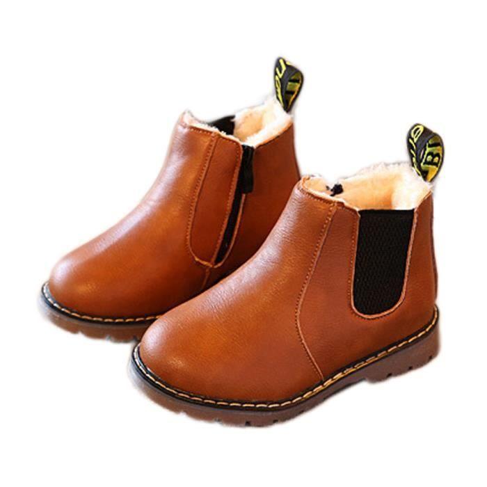 Benjanies®Enfants garçons filles hiver neige chaude cheville bottes zip enfant Chelsea chaussures MARRON_YLL7085BW