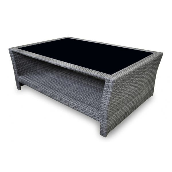 Table basse en r sine tress e gris ice proloisirs achat for Table basse jardin resine tressee