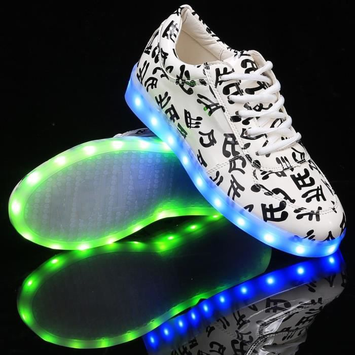 Chaussures Lumineuses LED Light Up Round Toe en cuir synthétique Sneakers