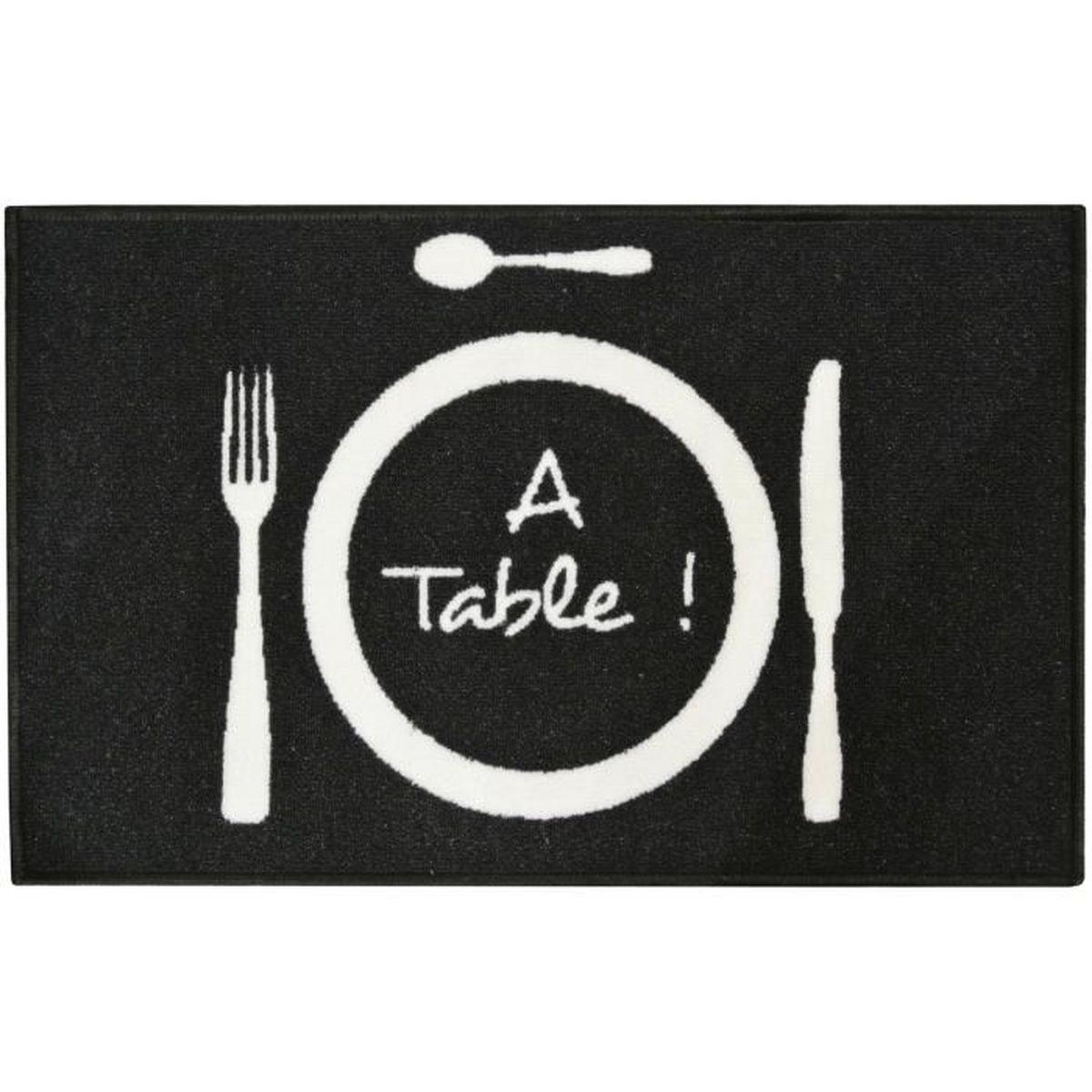Tapis Déco Chef à Table Cuisine Assiette Et Couvert Noir 19x19cm