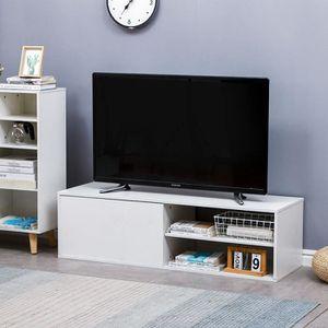 MEUBLE TV MURAL Meuble TV Blanc haute lumière contemporain blanc b