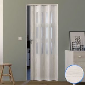 CABINE DE DOUCHE Porte pliante pvc accordèon verre opaque pin blanc