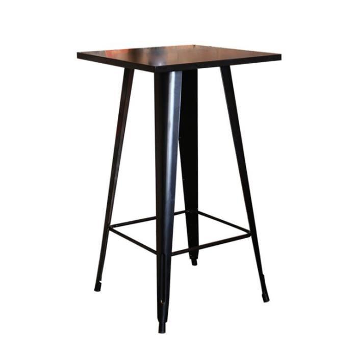 YIS Table Haute de Bar - Carré 60 cm - Table de bistrot pour Cuisine ou Exterieur Jardin terrasse Balcon - Hauteur: 103 cm noir