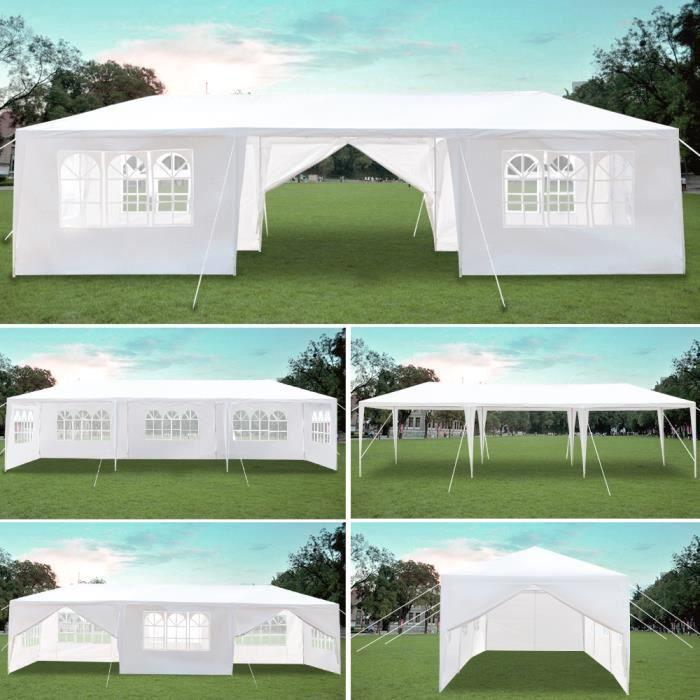 Tonnelle de Jardin Tente Réception Pavillon Aluminium, 3x9m avec 8 Parois Latérales pour Jardin,Fête Blanc