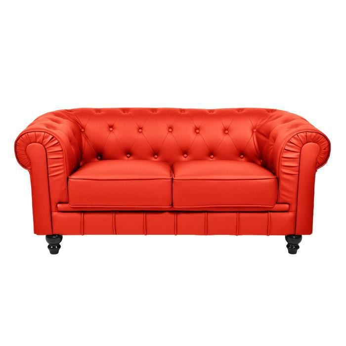 CHESTERFIELD CANAPE 2 PLACES ROUGE