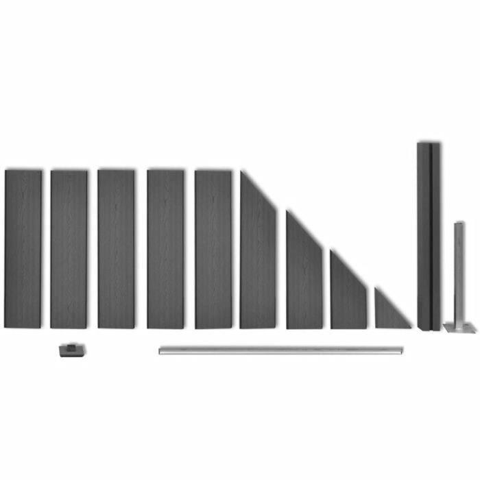 Panneau de clôture WPC 105 x (105-185) cm Incliné Gris