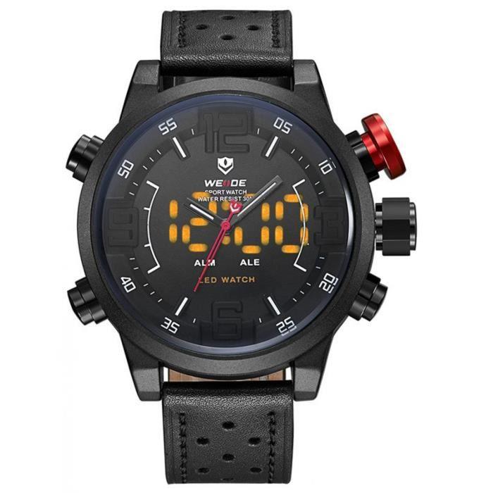 Montres Pour Hommes WH5210B-1C Double Affichage Montres WEIDE Hommes Sport Montres Étanche Bracelet Cuir Horloge À Quartz LED