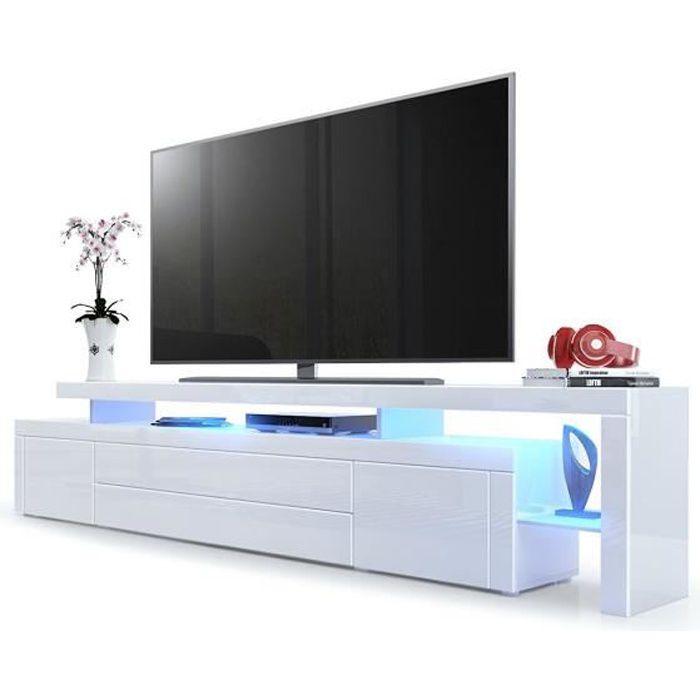 Meuble TV bas en Blanc haute brillance avec l'éclairage LED