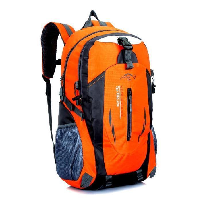 Sac à Dos,40L imperméable à l'eau Durable en plein air escalade sac à dos femmes hommes randonnée Sport - Type Orange