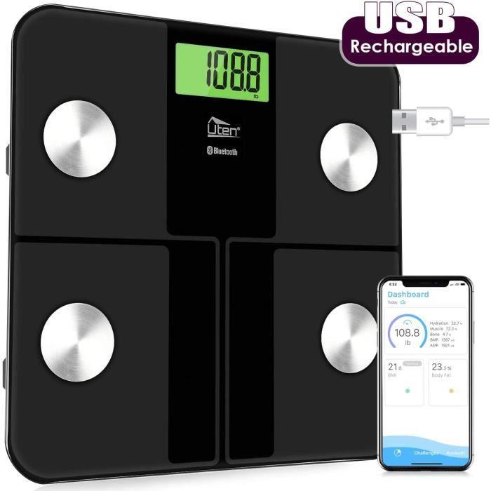 Pèse Personne Impédancemètre, Balance Connecté, Pèse-Personne Bluetooth, Balance de Salle de Bain Numérique Rechargeable USB Balance
