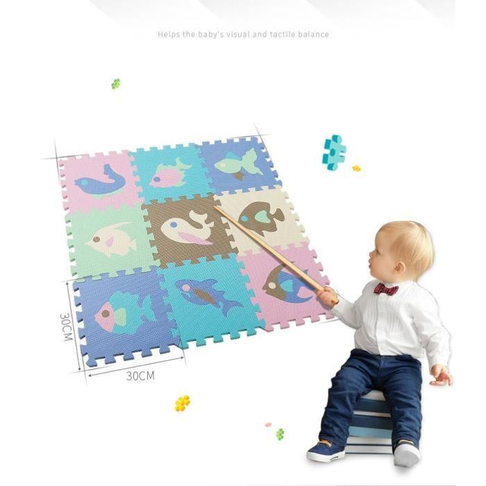 Tapis d'éveil,Tapis de Puzzle de mousse d'eva de tapis de modèle d'animal de bande dessinée avec la barrière - Type 9 Pcs no fence