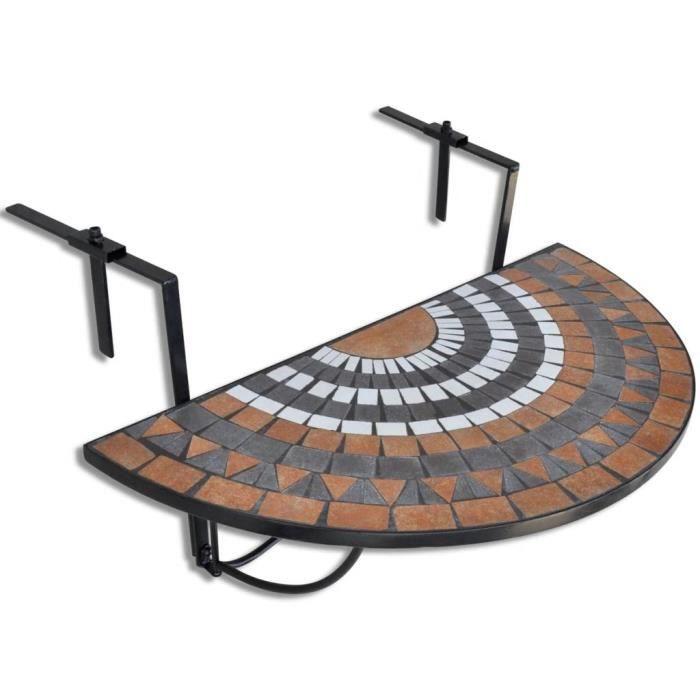 MEUBLE® Table suspendue de balcon Terre cuite et blanc Mosaïque ♕7074