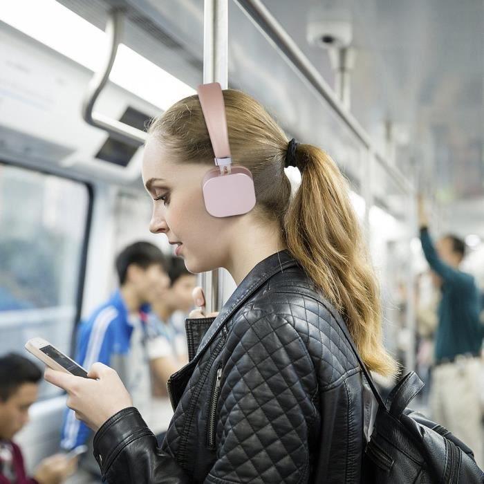Casque écouteur Bluetooth 4.2 sans fil Rose