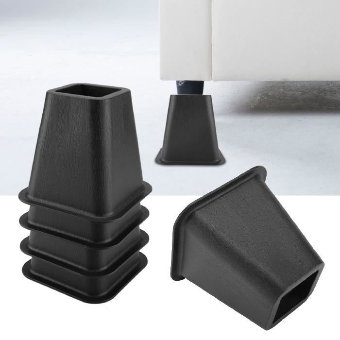 4X Pied de meubles Riser de fourniture Réhausseur de meuble Lit - Table - Bureau - Canapé-Chaise noir HB046