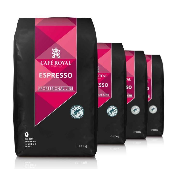 CAFE ROYAL PRO - LOT 4X1KG CAFE GRAINS UTZ - ESPRESSO - Certifié UTZ (éco-responsable)