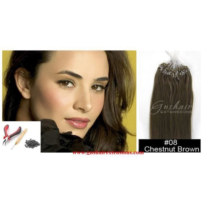 KIT POSE EXTENSIONS DE CHEVEUX A FROID CHATAIN #8