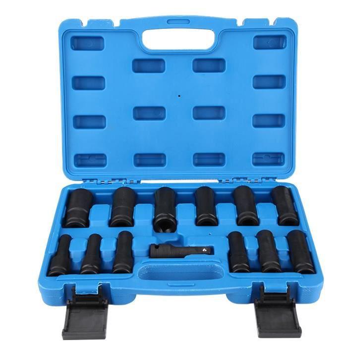 ARRIVEE Douilles à Choc Hexagonale, 13 Pièces 1-2 Pouce Jeu de Douilles à Impact 6 Pans Outil de Réparation Air Drive Kit 8-24mm