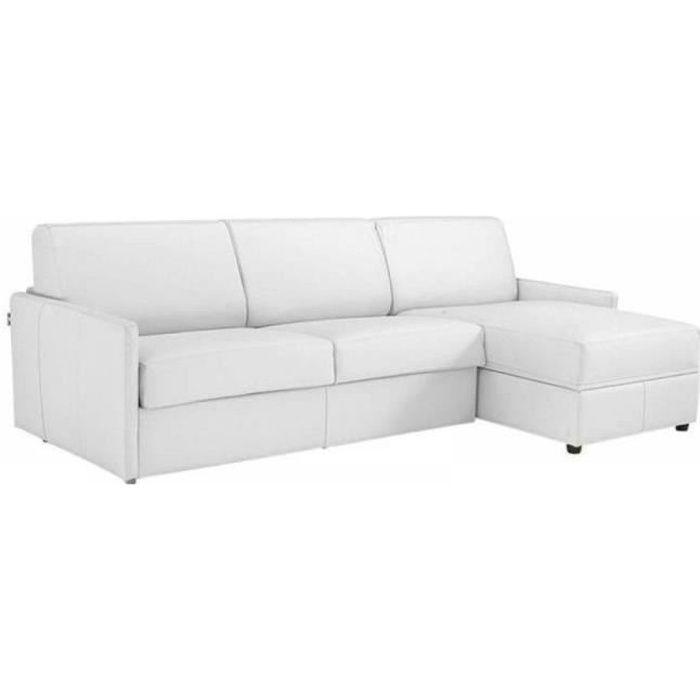 Canapé d'angle SUN convertible EXPRESS 120cm cuir vachette blanc casse matelas épaisseur 16cm blanc Cuir Inside75