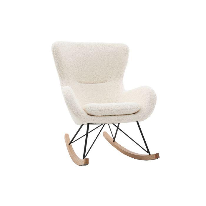 Miliboo - Rocking chair design tissu mouton blanc ESKUA