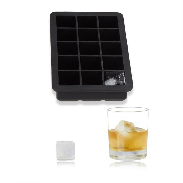 Relaxdays Bac à glaçons en silicone 2,5 cm moule à glace noir sans BPA HxlxP: 3 x 15 x 9,5 cm, noir