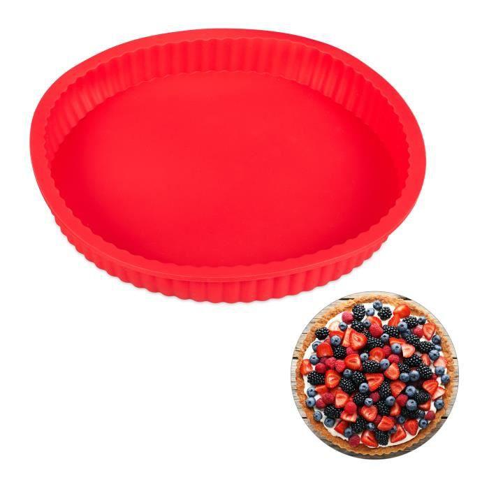 Relaxdays Moule à gâteaux rond 25 cm en silicone antiadhésif rouge résistant chaleur pro tarte quiche, rouge - 4052025272531