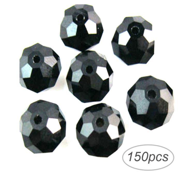 150 pcs DIY Facette Rondelle Verre Cristal Perles pour Bijoux Collier Bracelet Faire 3x4mm (Noir) CHAINE DE COU VENDUE SEULE