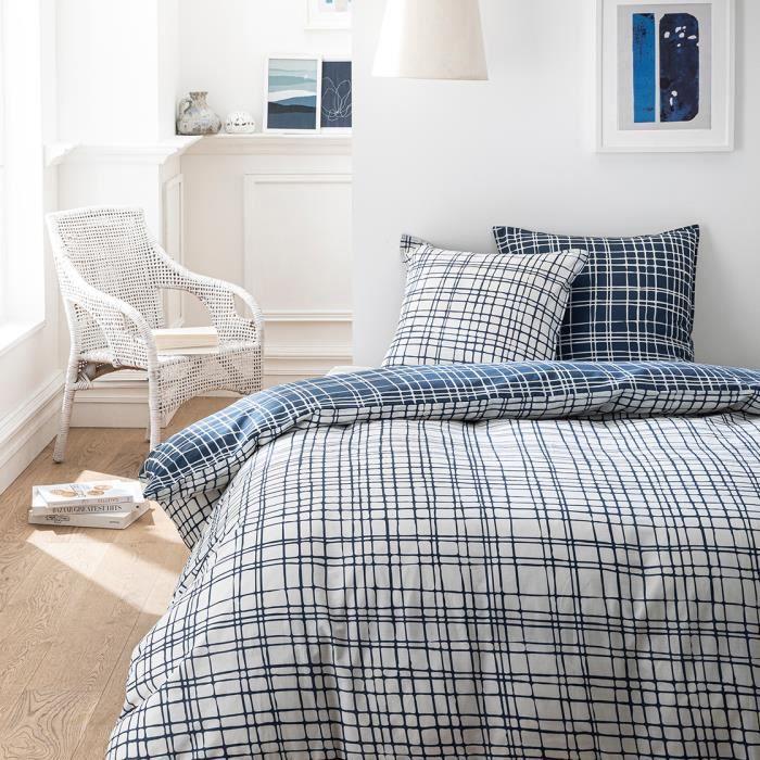 TODAY Parure de couette 100 % Coton 240x260cm SUNSHINE #3.47 - Bleu et blanc