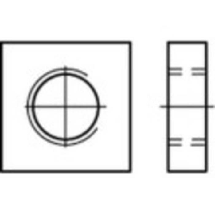 Écrou carré type bas M4 N-A TOOLCRAFT 109028 acier 100 pc(s)