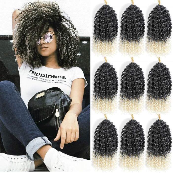 HK1-35287Marlybob Synthétique Crochet Tressage Cheveux bouclés Crochet Cheveux Tresses Kinky Curl Cheveux Bundles pour Femmes Noir