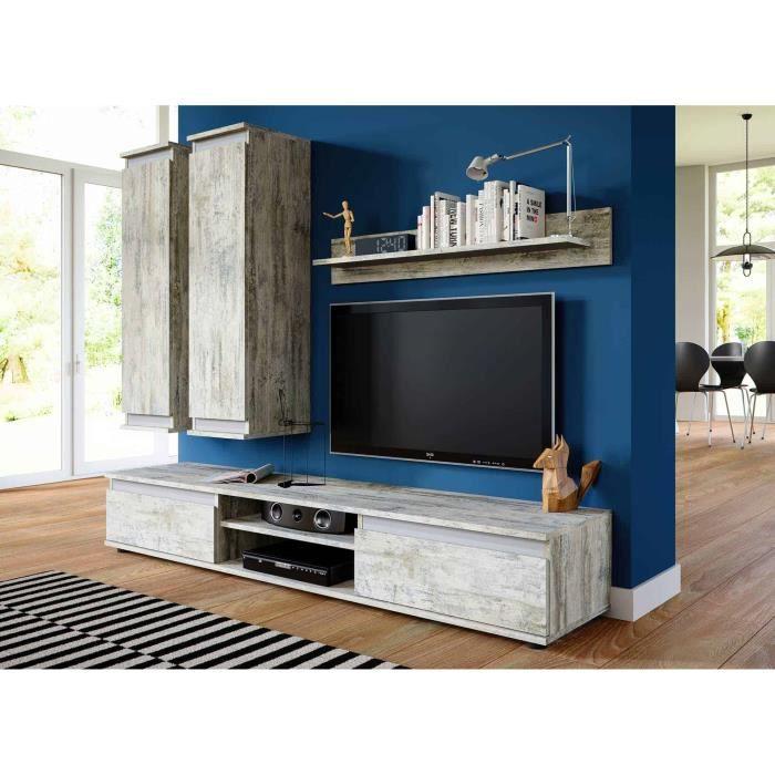 meuble tv et de salon suspendu design bois gris