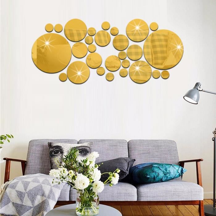 lot de miroir stickers autocollant mural rond amovible d coration maison or achat vente. Black Bedroom Furniture Sets. Home Design Ideas
