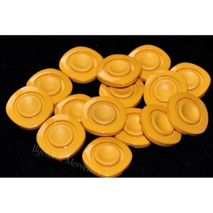 Mercerie Lot de 5 boutons pop originaux orange blanc 14mm button