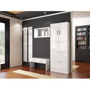 ensemble de meubles de hall d 39 entr e blanc laqu achat. Black Bedroom Furniture Sets. Home Design Ideas