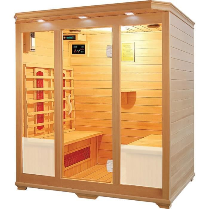 cabine sauna infrarouge 4places 130x120x195cm achat. Black Bedroom Furniture Sets. Home Design Ideas