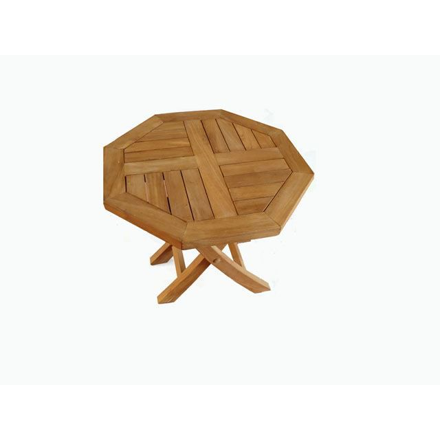 Table Basse Pliante Octogonale En Teck Diam 50 Cm Achat Vente Table Basse Jardin Table