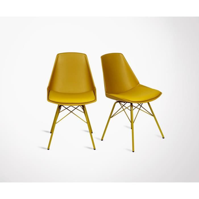 2 Chaises Design ANJI Pieds Metal