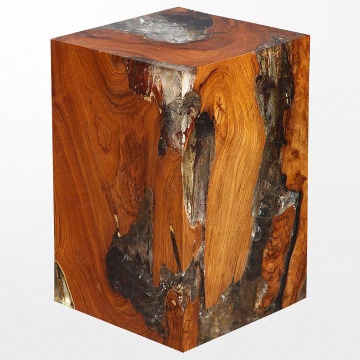 40 x 30 cm Spetebo Tabouret en bois de teck avec corde