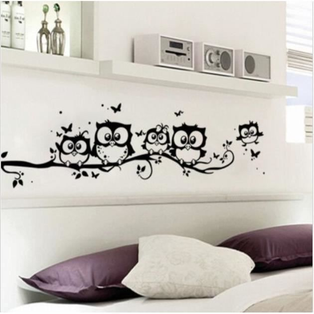 owls family on tree branch d coration murale pour salle de bain autocollant animal diy decal. Black Bedroom Furniture Sets. Home Design Ideas