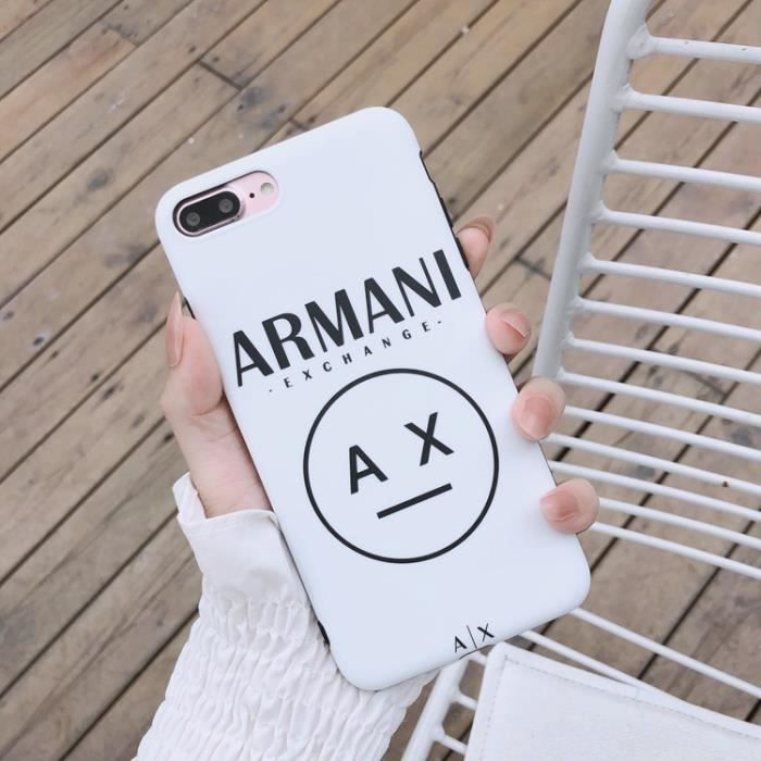 Coque iPhone SE 2020-8-7,Armani Blanc Silicone en GEL TPU Souple Coque Compatible iPhone SE 2020-8-7
