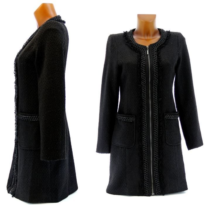manteau coat tweed femme noir achat vente manteau caban manteau coat tweed femme. Black Bedroom Furniture Sets. Home Design Ideas