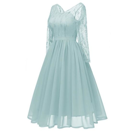 3f0ce794e37c5 Vintage En Swing Cocktail Femme à Encolure Parti Vert Robe Princesse ...