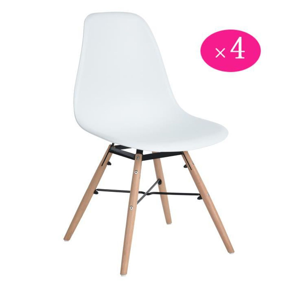 Lot de 4 chaises design scandinave blanc achat vente for Chaise design de cuisine